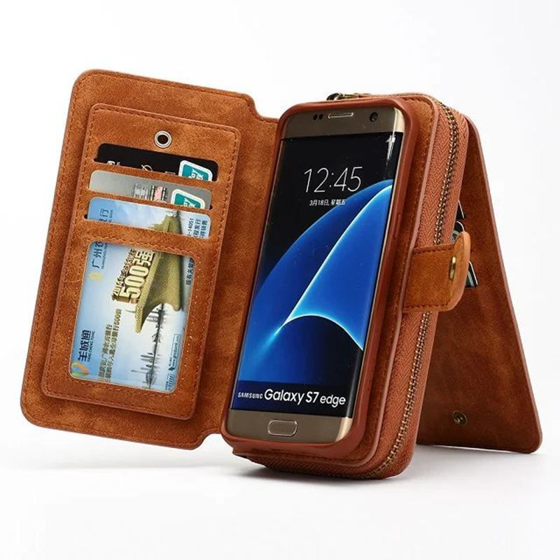 Multifunctional Detachable Zipper Wallet Case For Samsung Galaxy S7/ S7Edge PU leather Flip Cover Phone Bag For Galaxy S7 Edge