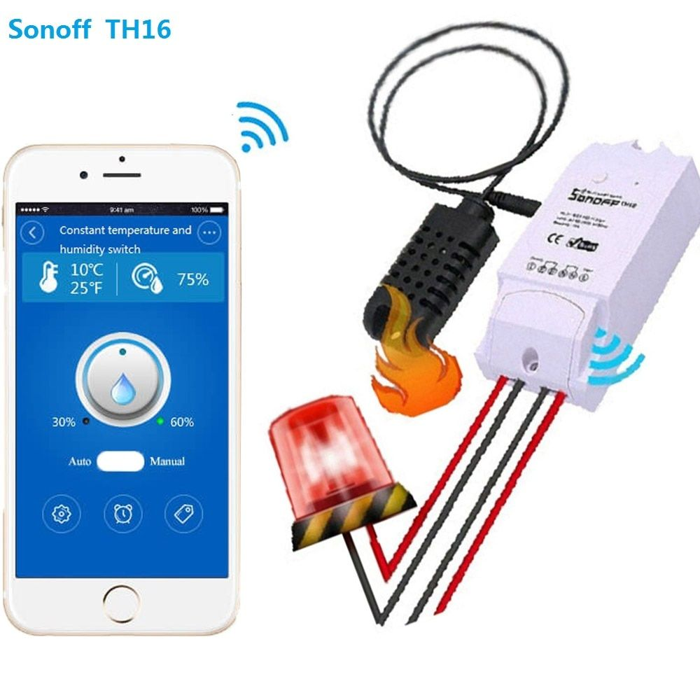 Sonoff th 16a/10a Temperature And Humidity Monitoring WiFi Smart Switch Controller Sensor with timer wireless home