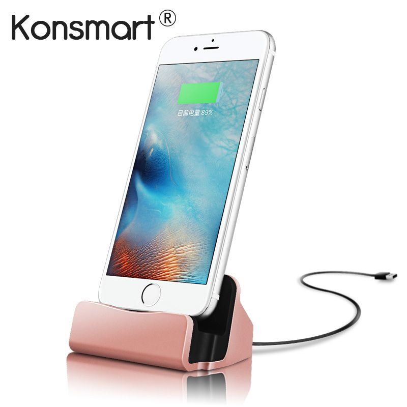 KONSMART USB Stand Dock For iPhone 7 Charging Station Cradle For iphone X 8 7 plus 6S 6 5S 5 Charger Dock Trackable  Shipment