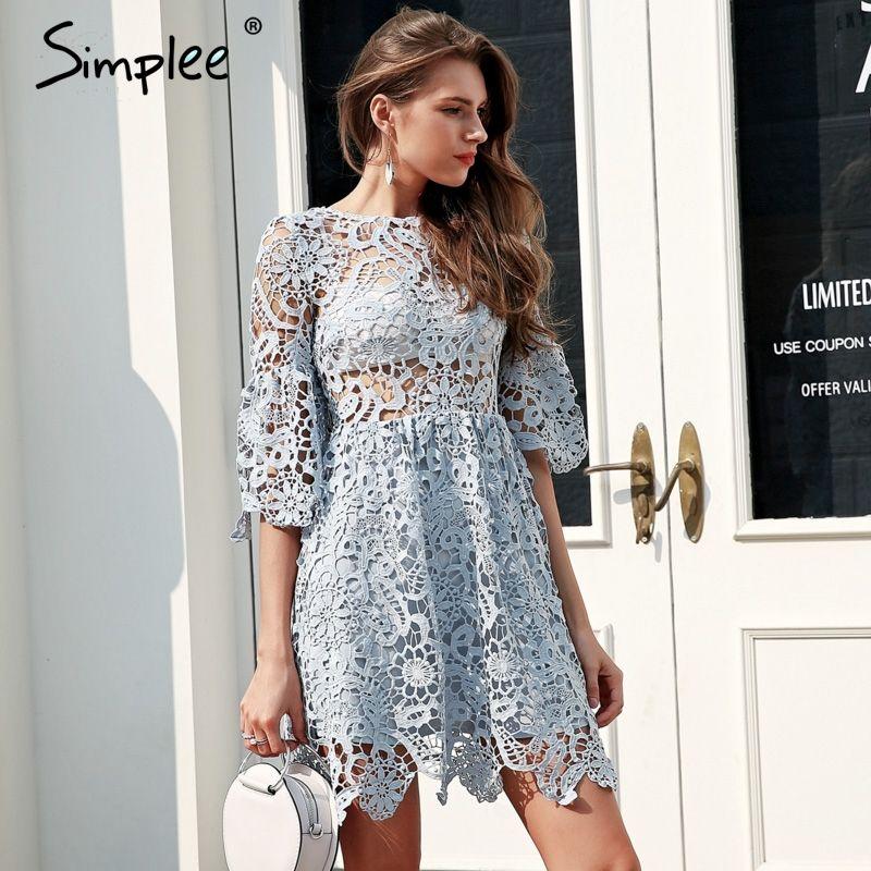 Simplee Hollow out blue lace dress women High waist perspective sexy dress 2018 Flare sleeve pleated short summer dress vestidos