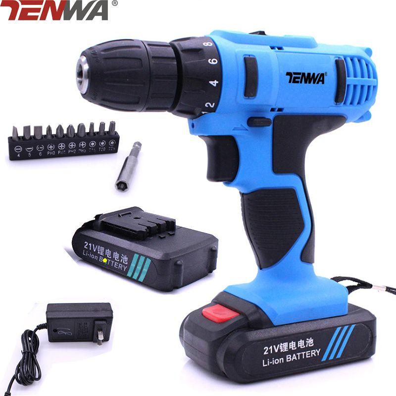 TENWA 21V Li-ion Battery Electric Drill Set 10 Bits Head 1 Prolong Robe 2 Speed Electric Screwdriver Household Power Tool Set