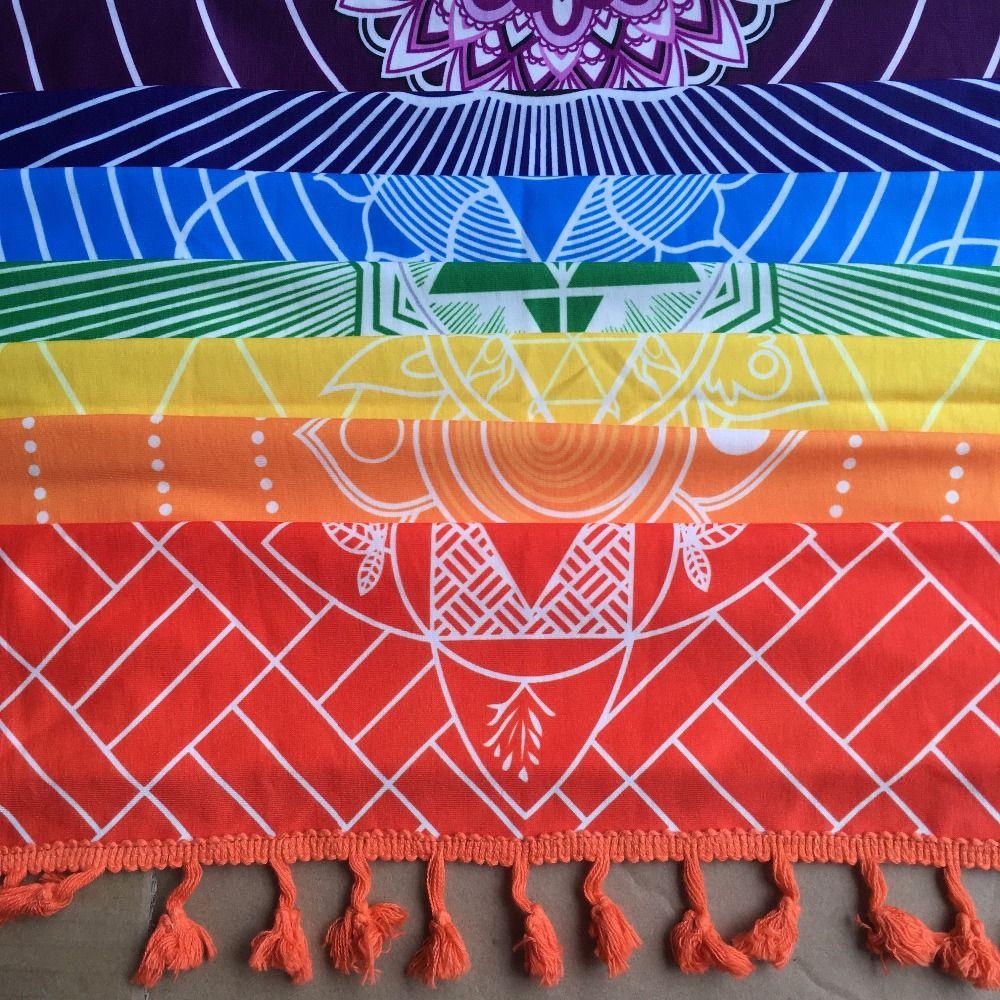 Meilleure Qualité Fait De Coton Bohême Inde Mandala Couverture 7 Chakra Rainbow Stripes Tapisserie Plage Jeter Serviette Tapis De Yoga
