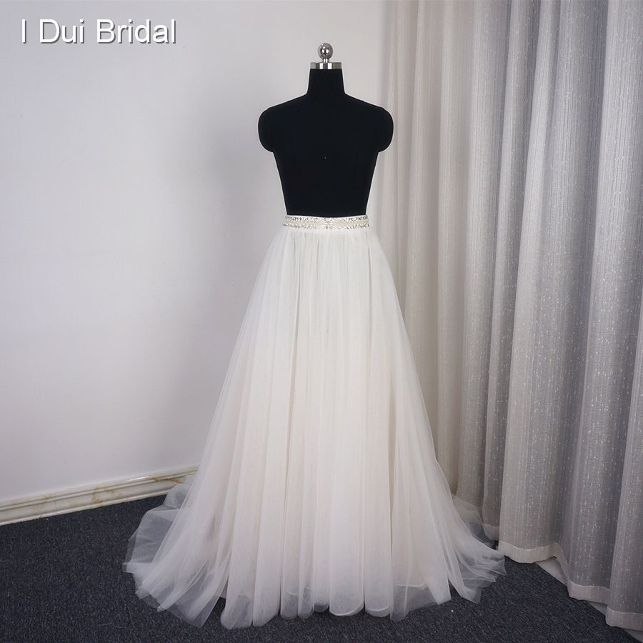 Only Skirt Bridal Dress Casual Rustic Wedding Skirt Organza Tulle Layer Champagne Lining with Rhinestone Beaded Detachable Belt