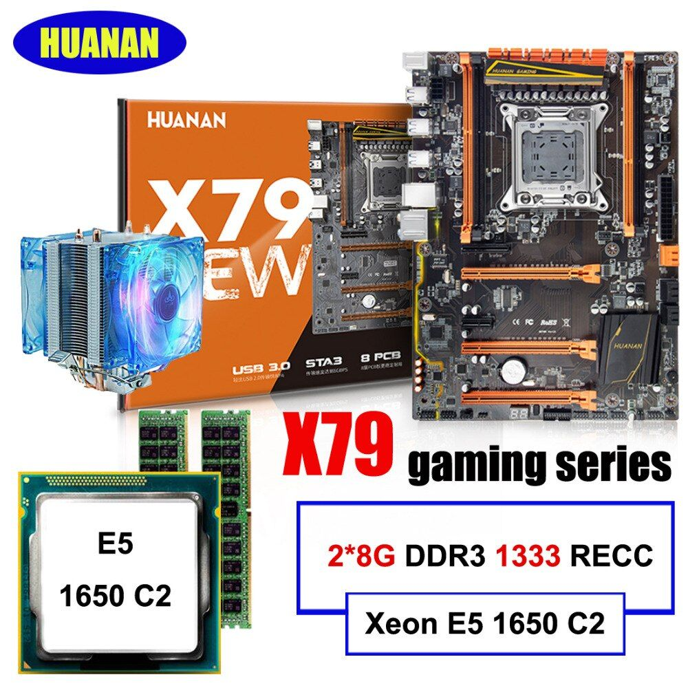 Build computer HUANAN DELUXE X79 LGA2011 motherboard CPU RAM combos Xeon E5 1650 C2 with cooler RAM 16G(2*8G) DDR3 1333MHz RECC