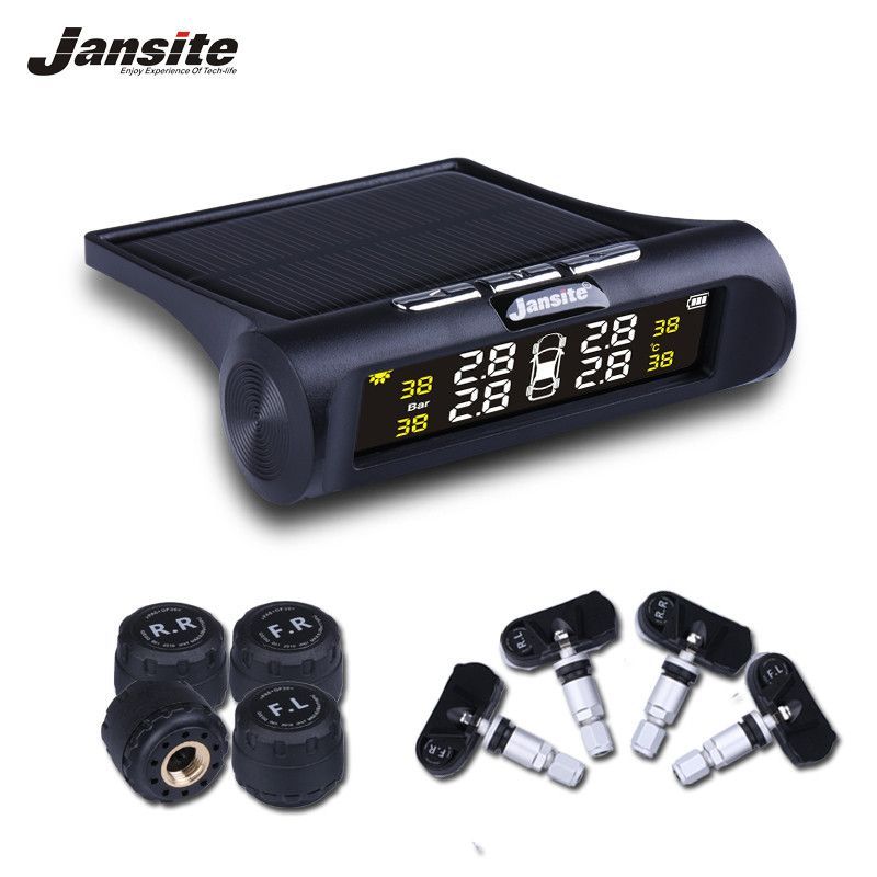 Jansite Smart Car TPMS Tyre Pressure Monitoring System Solar Power Digital LCD Display Auto Security Alarm Systems Tyre Pressure