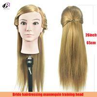 65 см блондинка длинные прямые волосы Парикмахерские практика манекен головы укладки волос Обучение Модель манекен головы + зажим