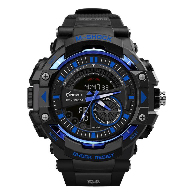Sport Watch Dual Time Display Men Watch Digital Writwatch LED 50m Waterproof Men's Watch <font><b>Saat</b></font> Brand Luxury Male Clock 20