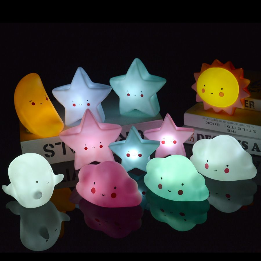 Cute White Cloud Smile Face LED Night Light Baby Bedroom Decor Lamps Moon Star Sleeping Lighting Children Gifts Toys
