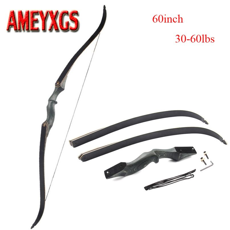 60 Inch Archery Takedown Recurve Bow Draw Weight 30-60lbs Right Hand Composite Bow Handle Hunting Shooting Accessories