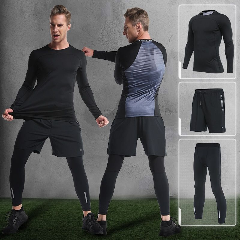 2018 New Compression Men's Sport Suits Quick Dry Running sets Clothes Sports Joggers Training Gym Fitness Tracksuits Running Set