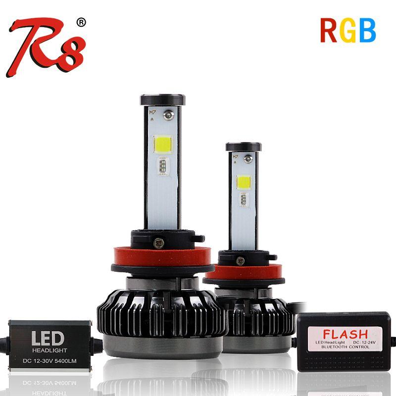 R8 New Car RGB LED Headlight H1 H3 H4 H7 H8/H11 9005 9006 880 9012 5202 LED Bulbs APP Bluetooth Control Multi-color 40W 6000LM
