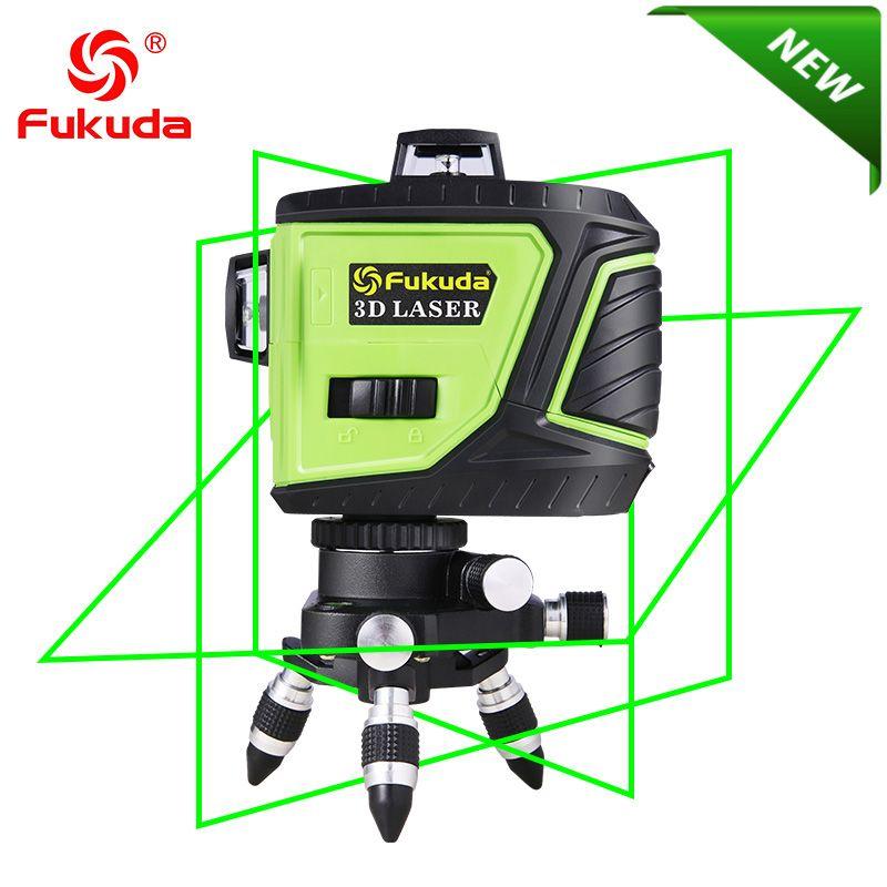 Fukuda Brand 12 Lines 3D 93T-3GX OSRAM Laser Level Self-Leveling 360 Horizontal Vertical Cross Super Powerful green Laser Beam