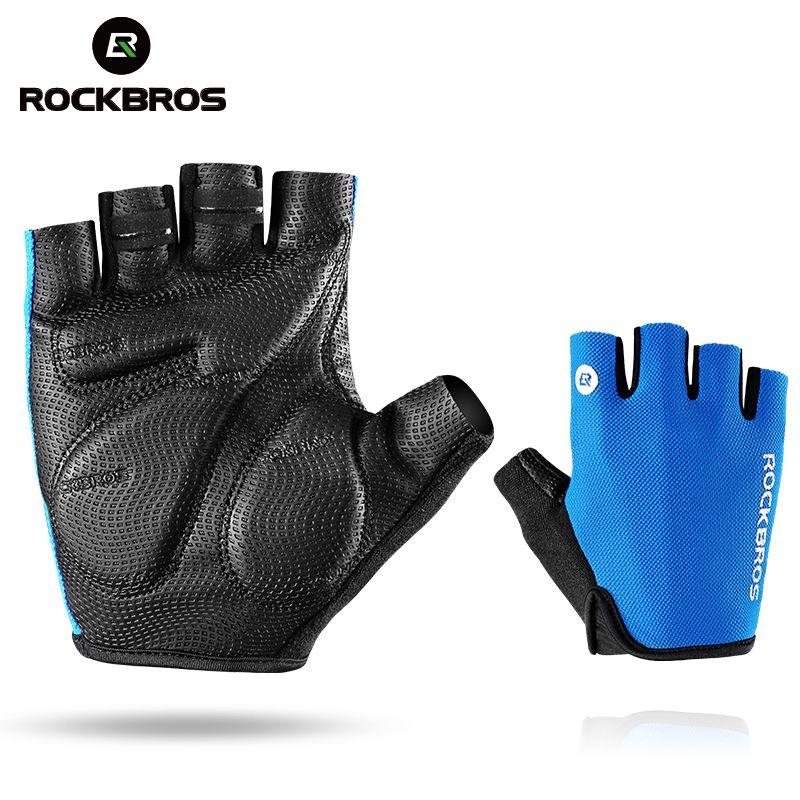 ROCKBROS gants de cyclisme demi doigt gants de vélo antichoc respirant vtt montagne vélo gants hommes Sports cyclisme vêtements