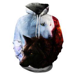 Serigala Dicetak Hoodies Pria 3d Hoodies Merek Kaus Boy Jaket Kualitas Pullover Tracksuits Busana Hewan Streetwear Keluar Mantel