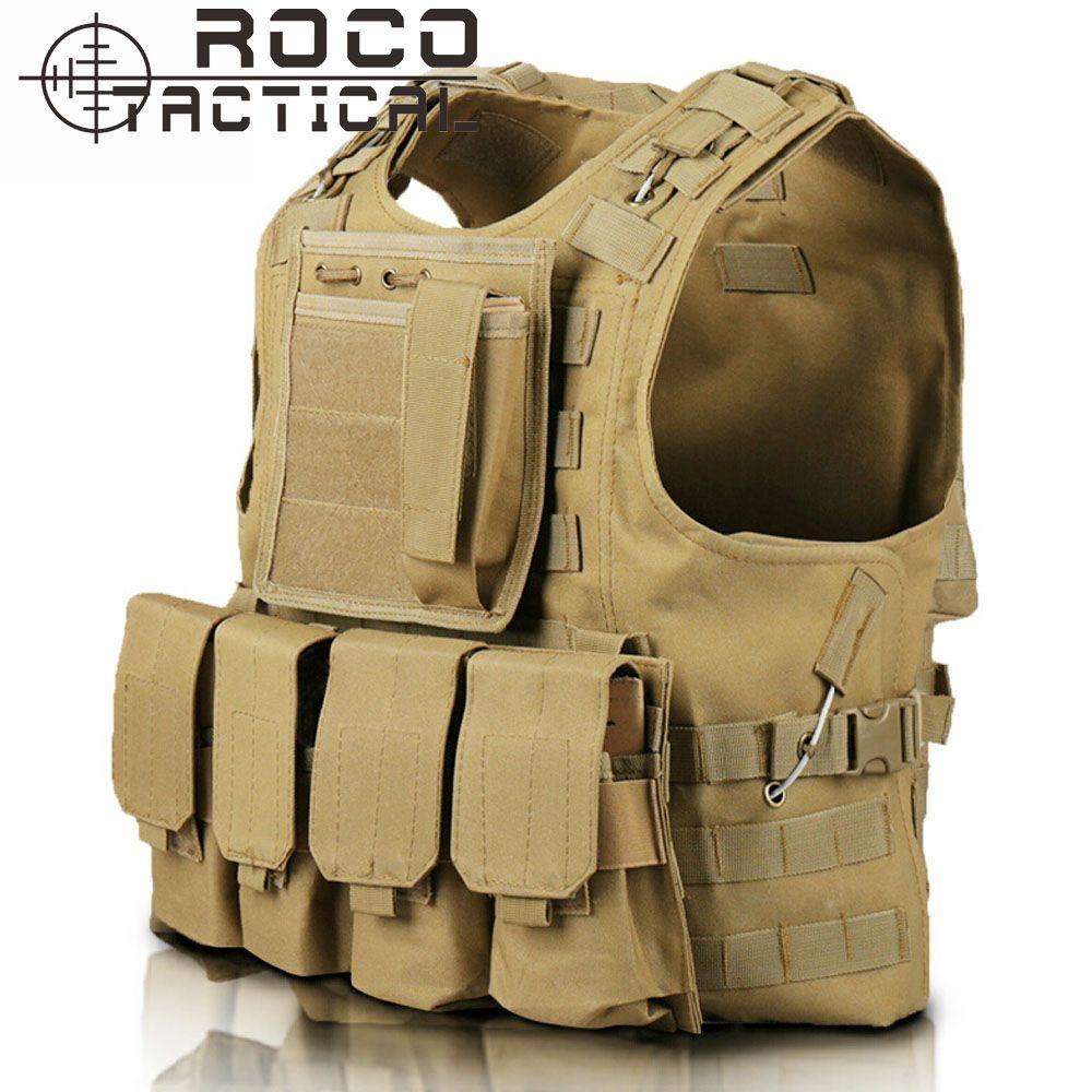 Quick Release Military Modular Molle CIRAS Tactical Vests Assault Vest Airsoft Combat Vests Includes Mag Pouch & Acessory Bag