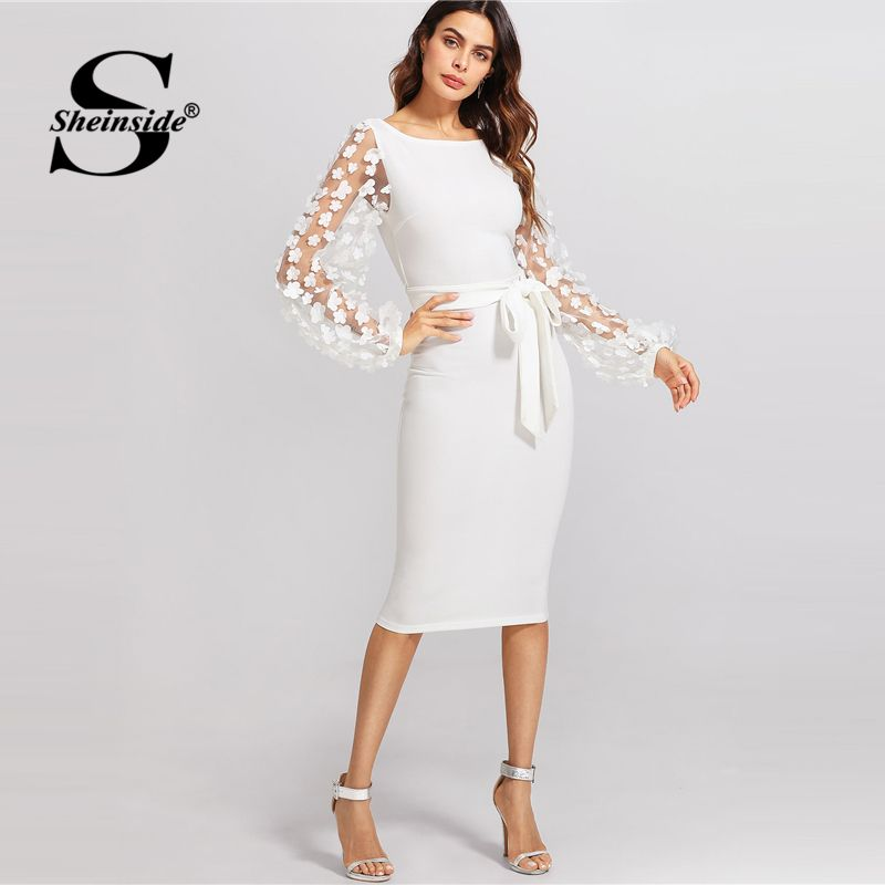 Sheinside White Embroidery Contrast Mesh Belted Pencil Dress Solid Knot Zipper Dress 2018 Spring Women OL Bodycon Dress