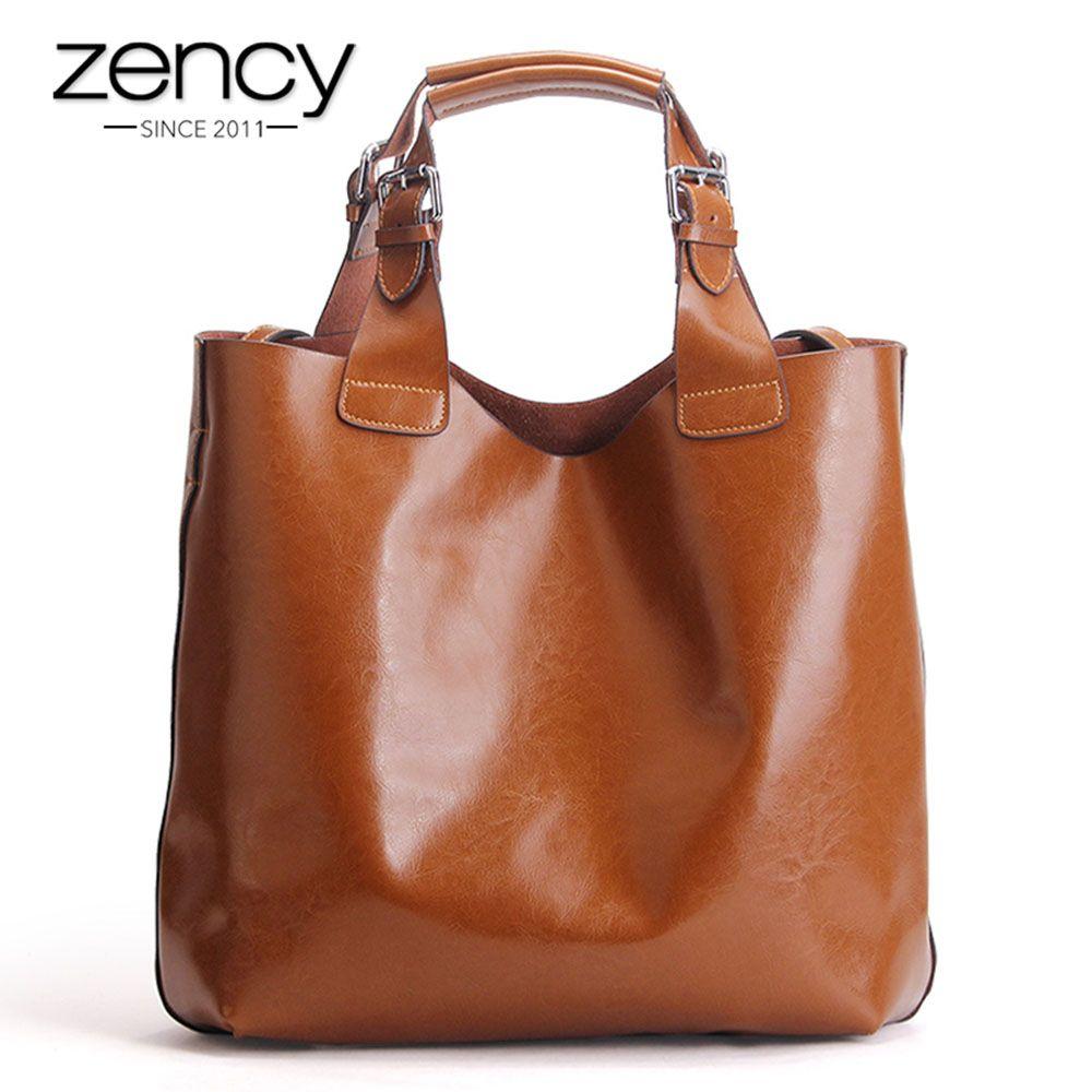 Zency 100% Genuine Leather Retro Brown Women Handbag Lady Big Tote Bag Laptop Classic Coffee Female Shoulder Bags Shopping Purse