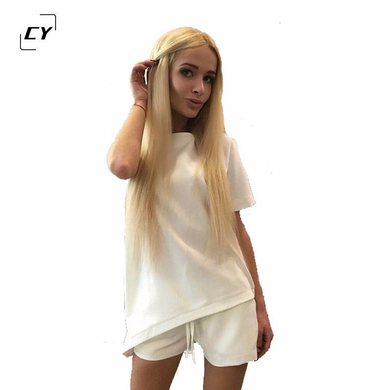 Décontracté femmes ensembles vêtements 2 pièces Top T-shirt et Shorts été femmes ensembles mode solide couleur femmes costume