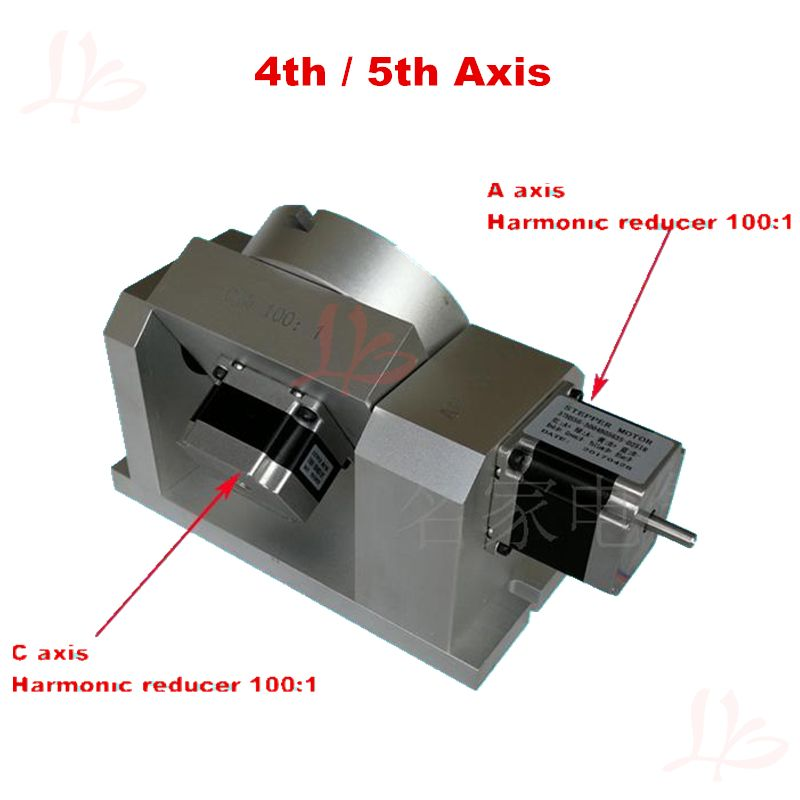 DIY CNC kits 4th 5th axis Rotary axis CNC dividing head harmonic reducer cylinder engraving