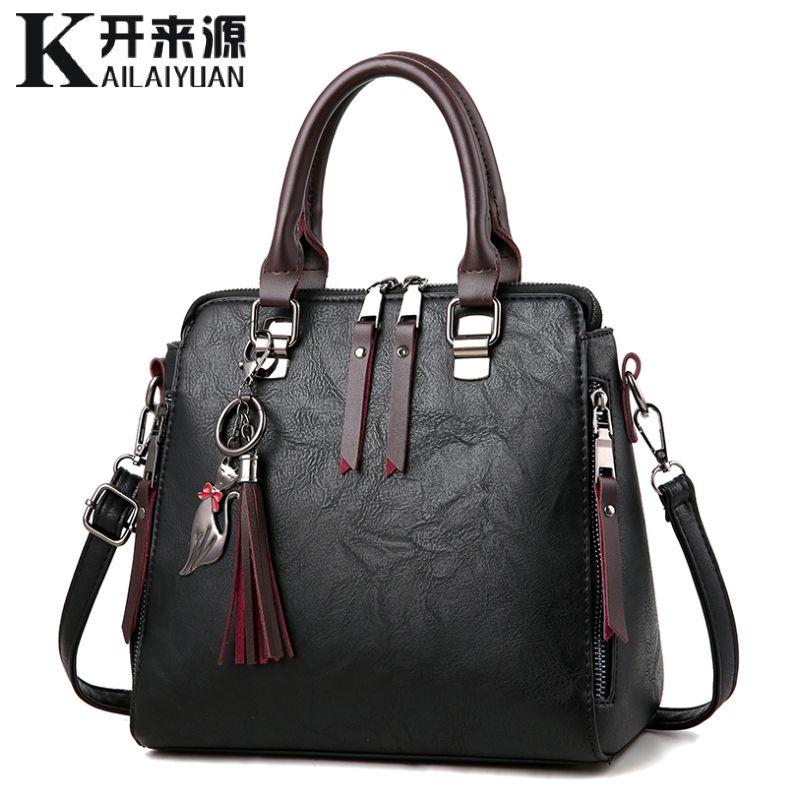 100% echtem leder Frauen handtaschen 2019 Neue Damen Handtaschen Frauen Messenger Taschen TotesTassel Designer Umhängetasche Schulter Tasche