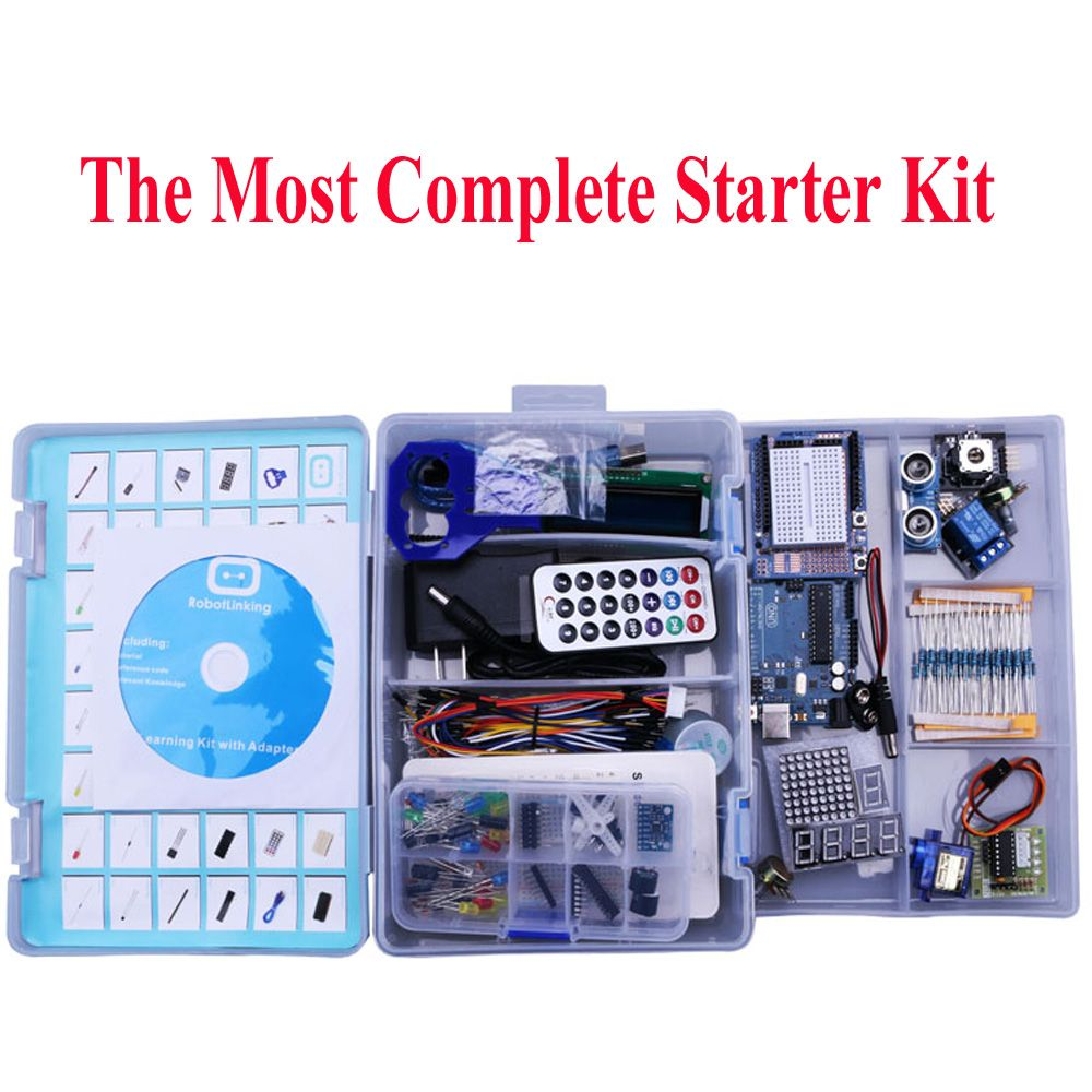Elego UNO Project The Most Complete Starter Kit for Arduino Mega2560 UNO Nano with Tutorial / Power Supply / Stepper Motor