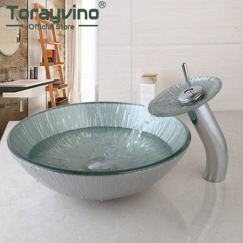 Bathroom Sink,Decor Art Wash Basin With Waterfall Faucet Tempered Glass Bathroom Sink Set Hot&Cold Mixer Tap