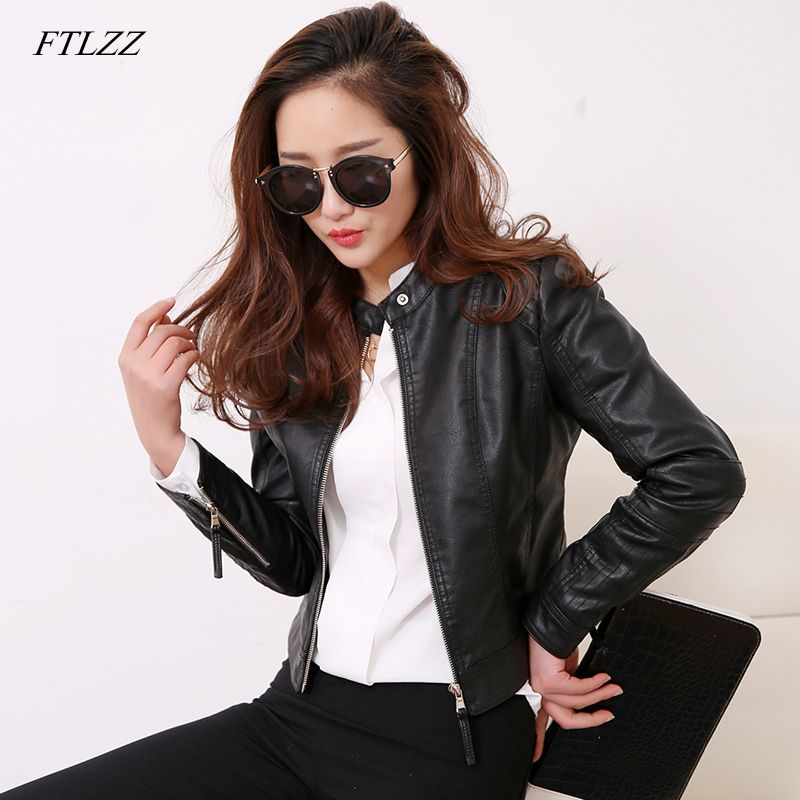 FTLZZ European Style O Neck PU Leather Jacket New Fashion <font><b>Motorcycle</b></font> Leather Outwear Women Slim Biker Coat Basic Streetwear