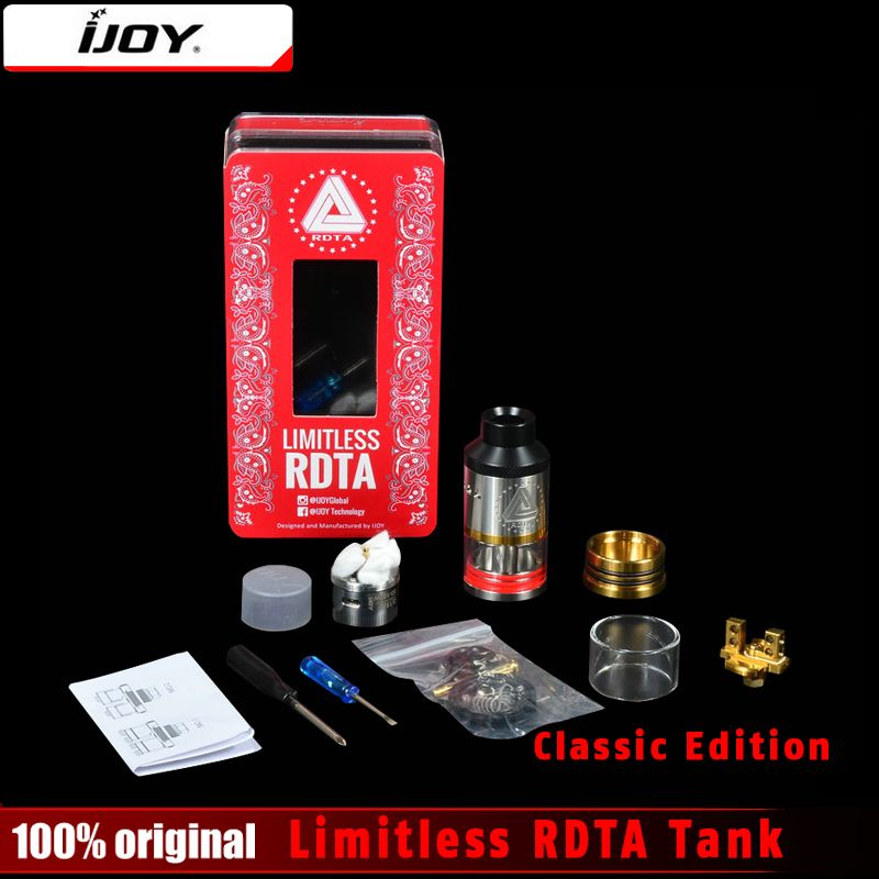 Original Ijoy LIMITLESS RDTA Classic Edition Atomizer 6.9ml Innovative Side Fill tank 25MM with pre-installed postless deck Tank