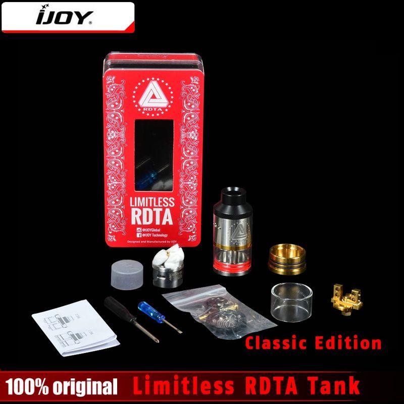 Original IJOY limitless rdta Classic Edition atomizador 6.9 ml innovador lado llenar tanque 25mm con pre-instalado postless cubierta de tanque