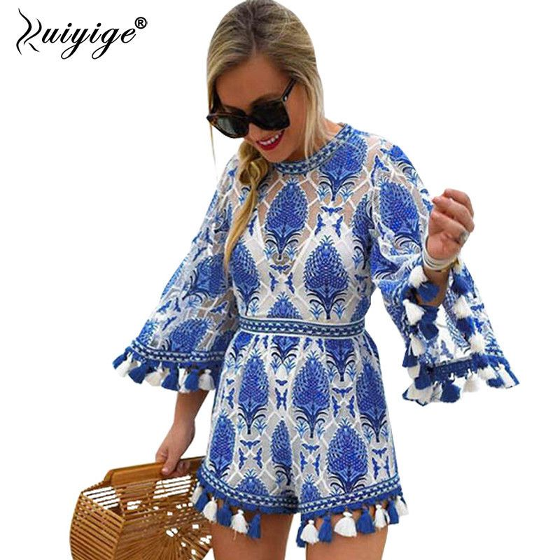 2018 Flare Sleeve Women Playsuits Tassel Rompers Women Jumpsuit Blue Floral Pattern Loose Lady Clothes Summer Beach Playsuit