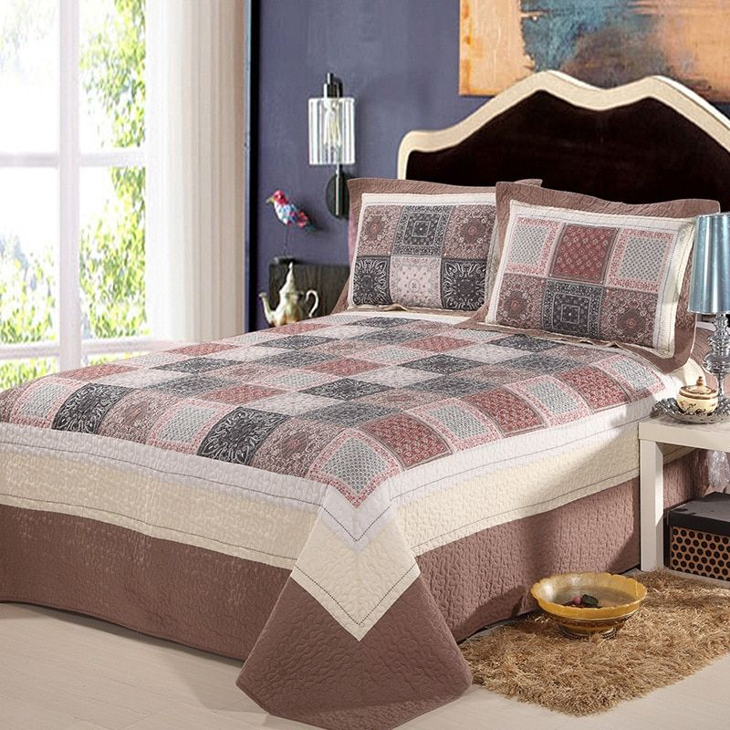 CHAUSUB Quality Washed Cotton Quilt Set 3PCS/4PCS Quilted Bedspread Bed Cover Duvet Cover Pillowcase Coverlet Set Bedding King
