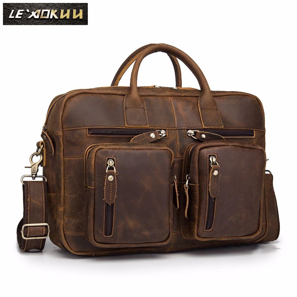 Real Leather Men Designer Multifunction Commercial briefcase laptop Document Bag Business Attache Portfolio Shoulder Bag k1013