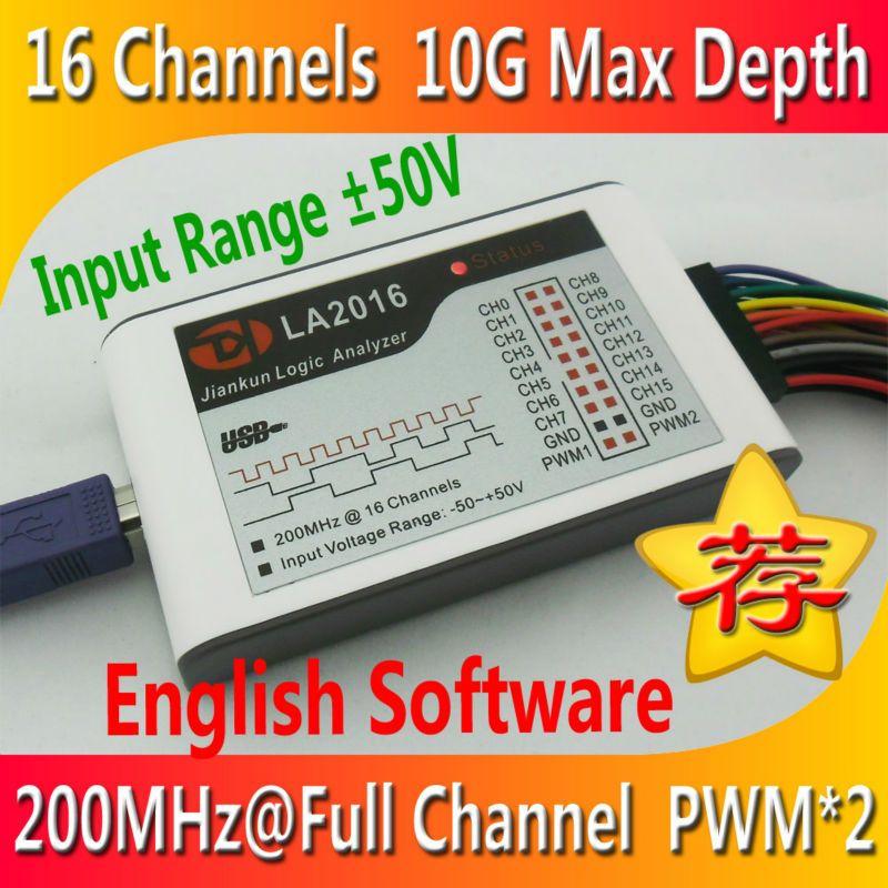 Kingst LA2016 USB Analyseur Logique 200 M taux d'échantillonnage max, 16 Canaux, 10B échantillons, MCU, BRAS, FPGA outil de débogage, logiciel en anglais