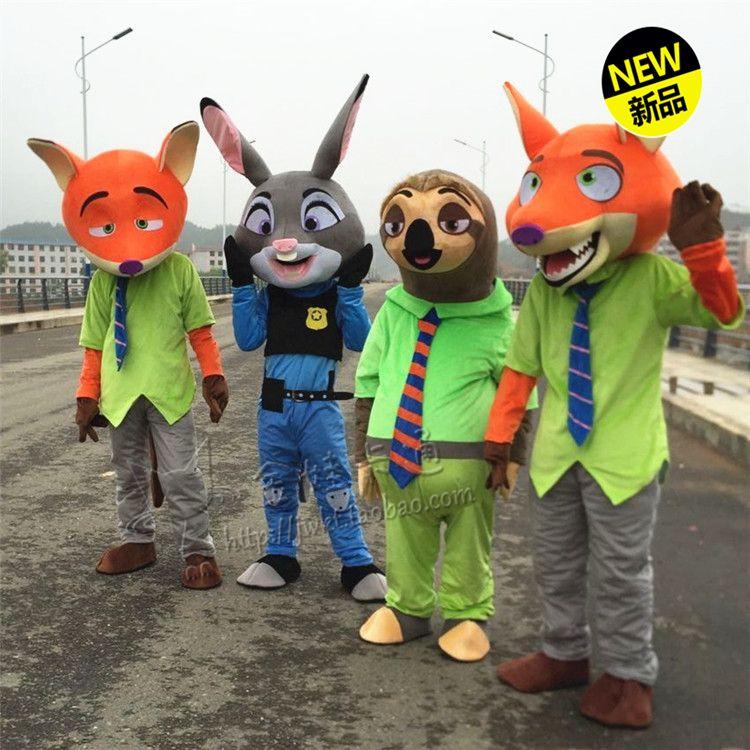 Judy Kaninchen Maskottchen Nick Fuchs Maskottchen Blitz faul Maskottchen Kostüm Cartoon Bekleidung Cosplay Cartoon Masco Kostüm Film Rolle