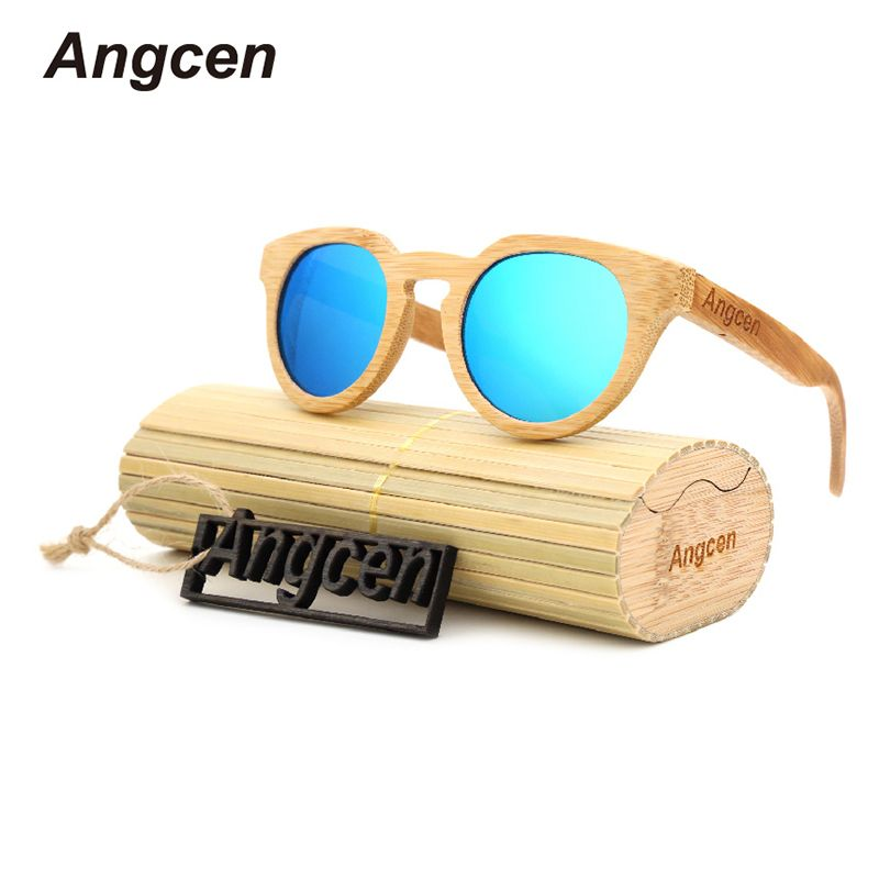 Angcen Ms packages mailed <font><b>2016</b></font> bamboo, wood retro fashion polarized light green natural sunglasses by hand ZA05