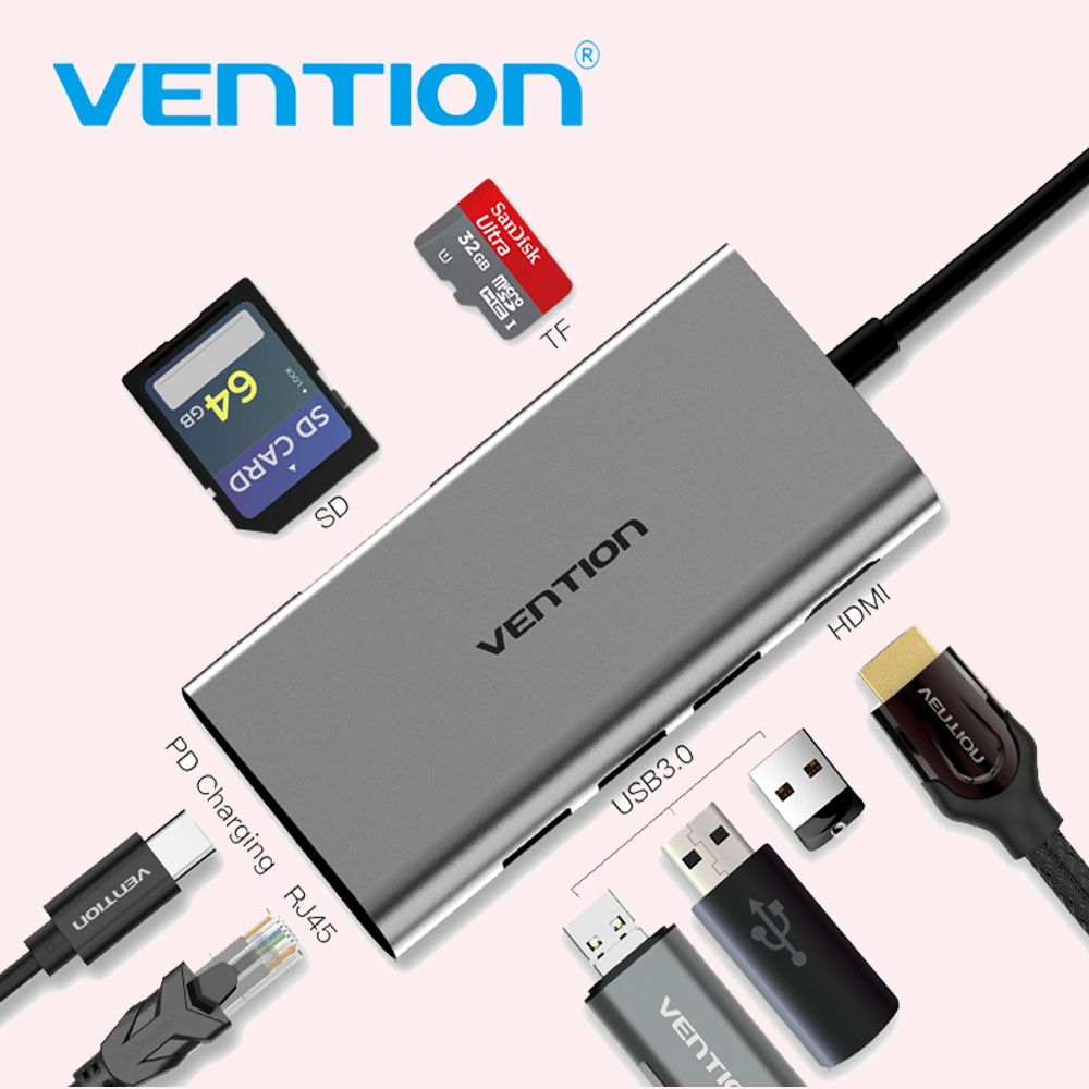 Vention USB C to 3.0 HUB HDMI RJ45 PD SD/TF Card Reader Adapter for MacBook Samsung S9/S8 Huawei P20Pro Type-C Docking station