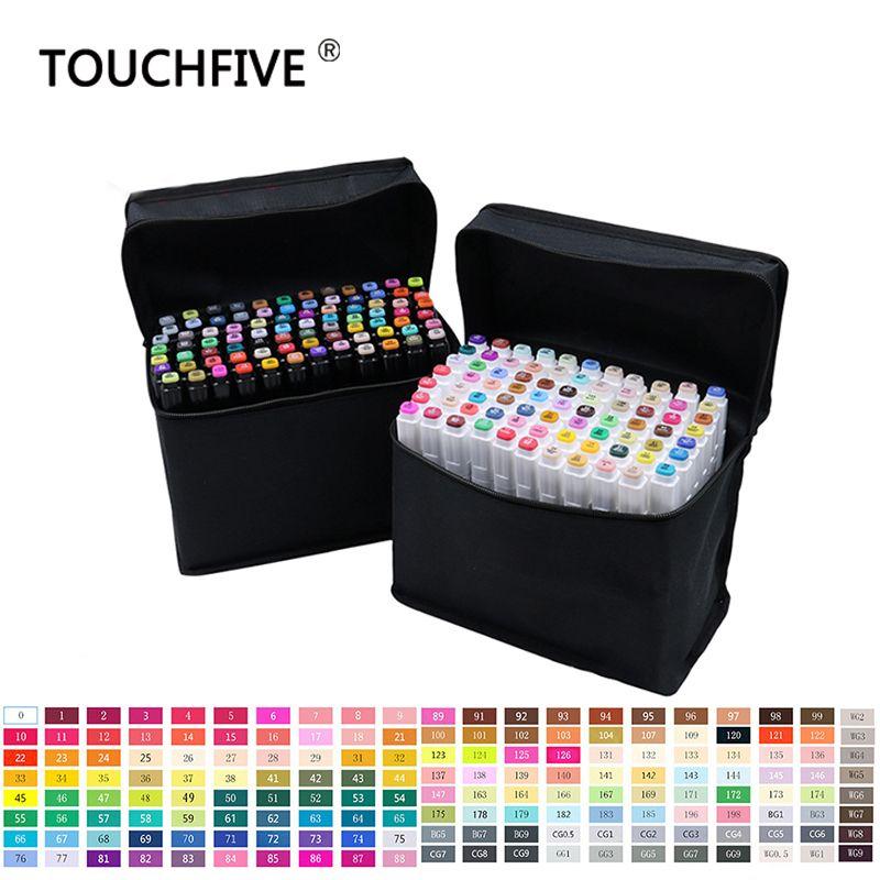 Touchfive 30 40 60 80 168 couleurs marqueur Set croquis marqueurs pinceau stylo double tête Art marqueurs ensemble pour dessiner Manga Animation Design