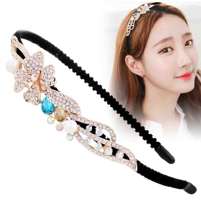 Princess Peal Rhinestone Hairbands OL Flower Luxury Crystal Headbands Bridal Wedding Shiny Hair Accessory Elegant Bow Headwear