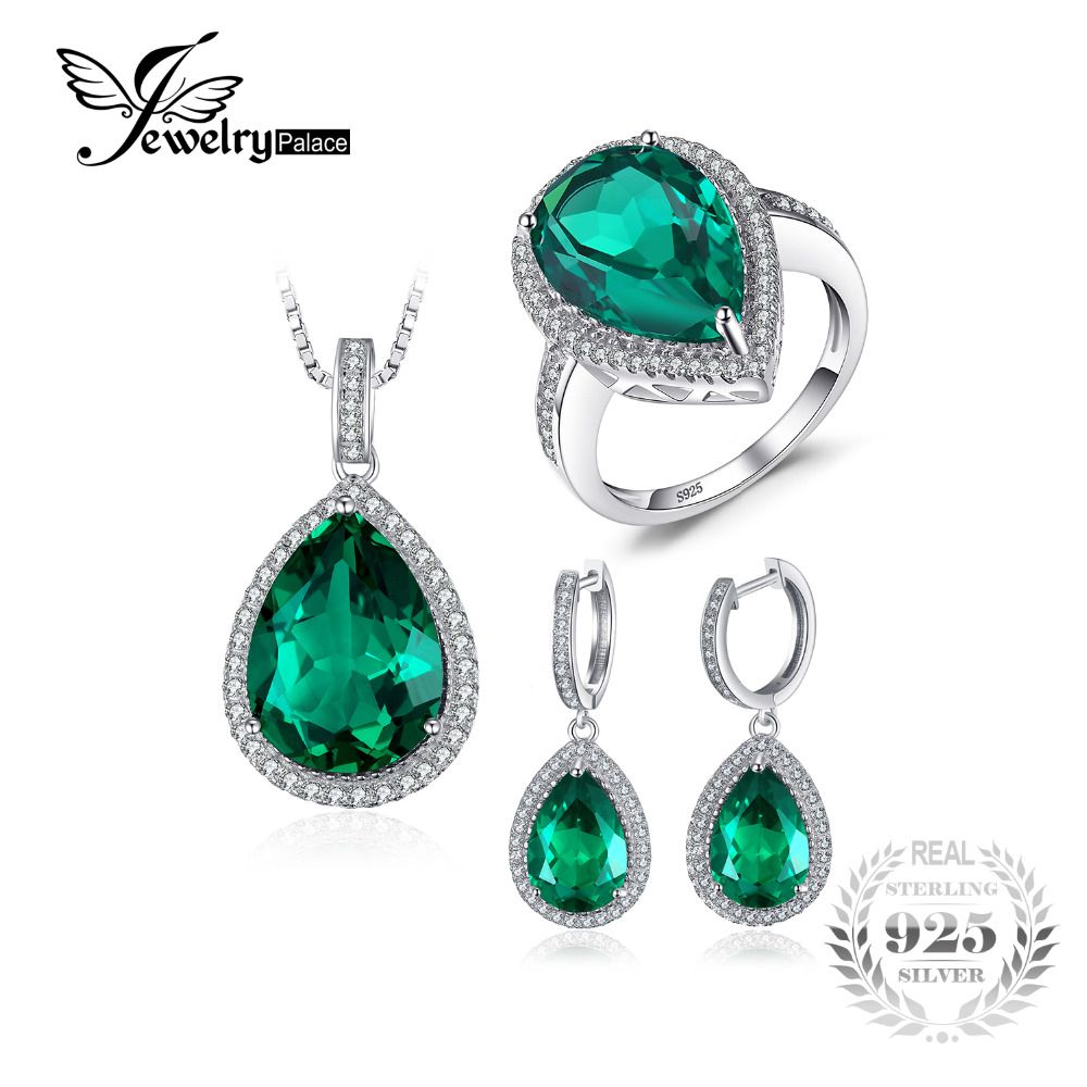 JewelryPalace Pear Shape Created Emerald Jewelry Set 925 Sterling Silver Ring Necklace Pendant Earring Jewelry Set