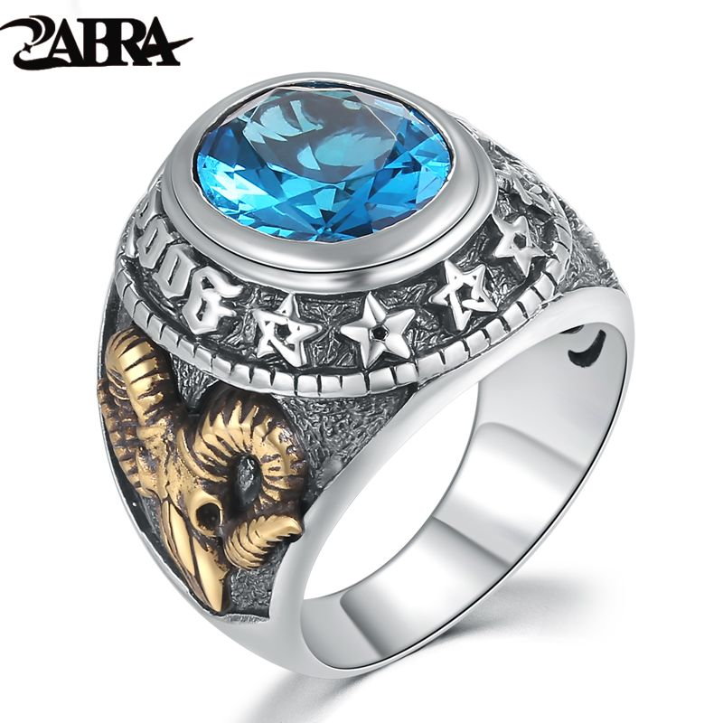 ZABRA 925 Silver Blue Zircon Men Ring Vintage <font><b>Stone</b></font> Punk Rock Gold Sheep Head Thai Handmade Women Rings Sterling Silver Jewelry