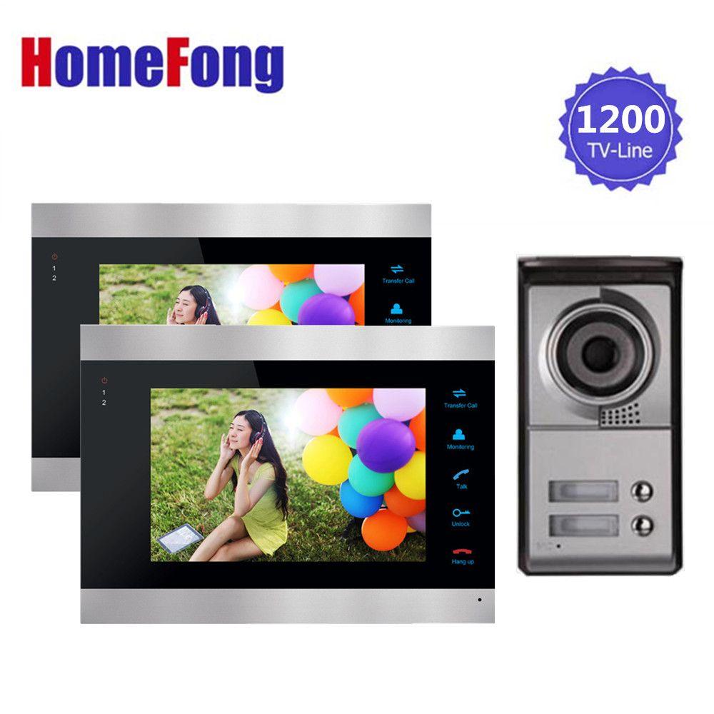 Homefong 7 inch Video Door Phone Intercom System 1 Doorbell Camera with 2 button for Apartment 2 indoor Monitor Rainproof