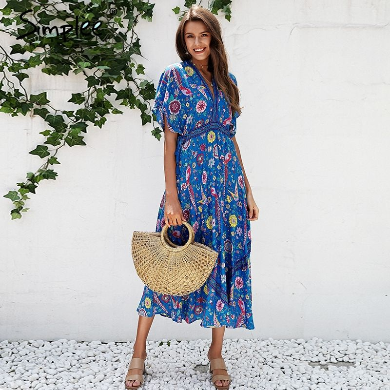 Simplee Sexy floral print blue maxi dress Half sleeve tie up ethnic dress women Deep V neck tassel long dress holiday 2018