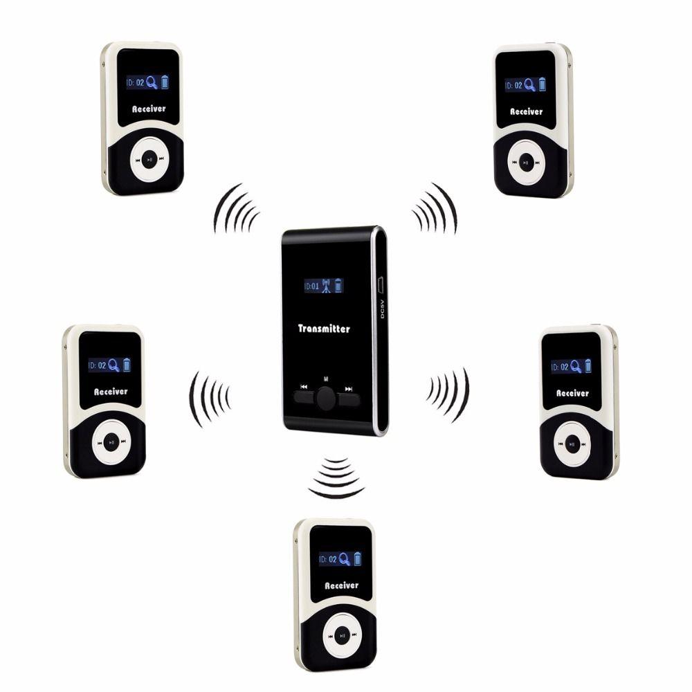 Tivdio Беспроводной гид Системы 1 передатчик + 5 приемник для тура руководящих синхронного перевода встречи церкви f4507a