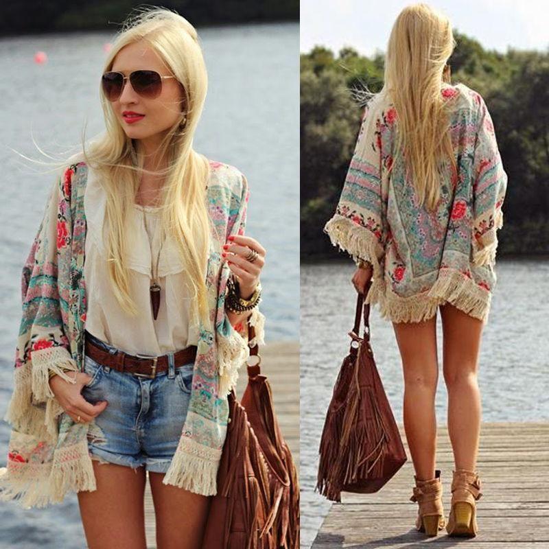 2018 Blouse Cape Blazer Jacket Top summer chiffon blouse Retro Boho Floral Lace Cardigan Hippie Kimono Coat Female Shirts Tassel