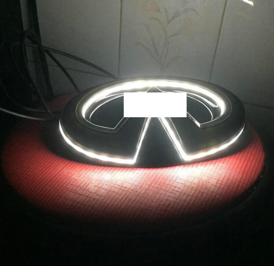 Black Car LED Logo Emblem Light bulb For Infiniti Q50/Q50S 14+ Grille Center Badge LED Illuminated Star Kit 18.5*9.6cm white