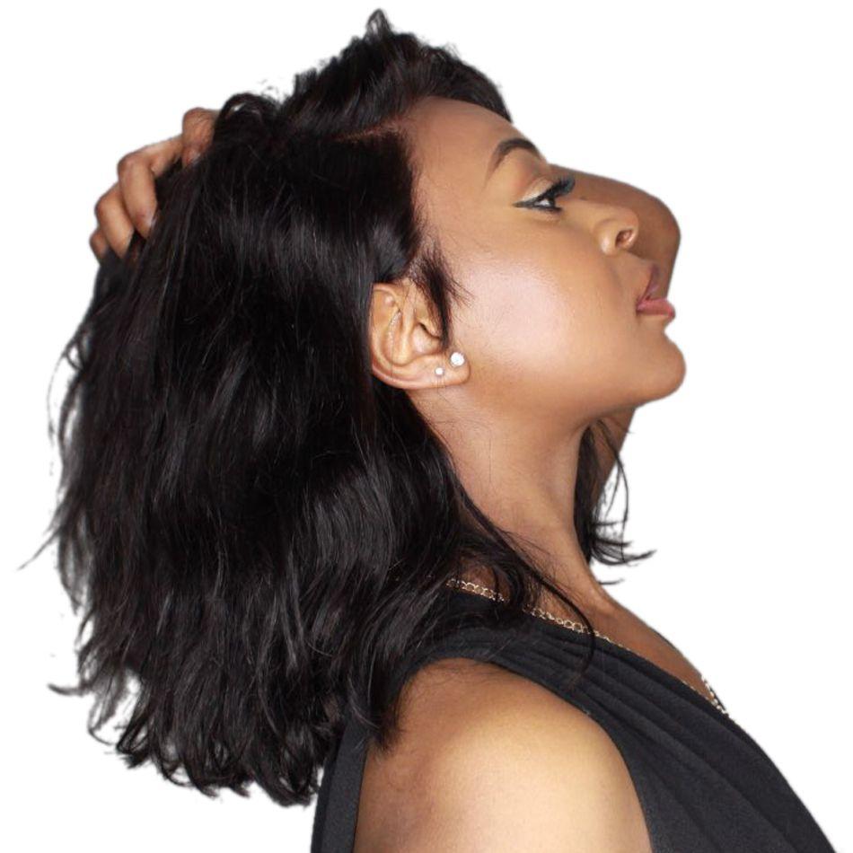 Luffy 13x6 Courte Bob Avant de Lacet Perruques de Cheveux Humains Naturel Vague Indien Non-remy Naturel Noir Pré pincées Blanchis Noeuds Pour Les Femmes