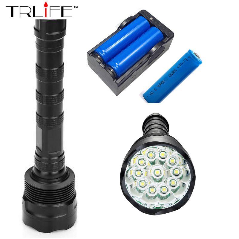 50000 Lumens Lighting 12T6 LED flash light 12*XM-L T6 LED Flashlight Torch Lamp Light For Hunting Camping