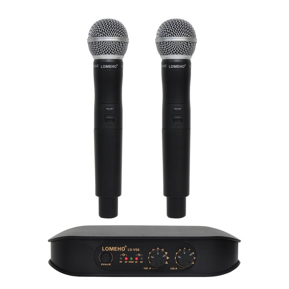 Lomeho LO-V06 Dual Handheld VHF Frequencies Dynamic Capsule 2 channels Wireless Microphone for Karaoke System