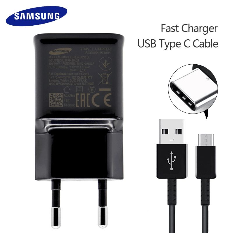 Samsung Galaxy S9 S8 S8 Plus note 8 Original Adaptive Fast Charger Travel Adapter EU US UK 9V1.67A&5V2A Quick Charger 3.0 Type-C