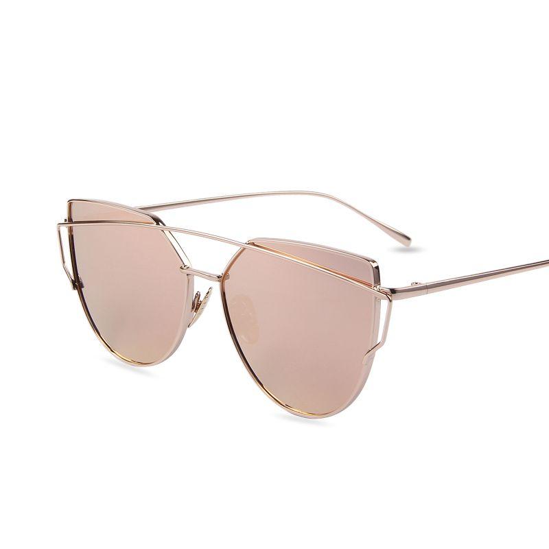 Vente chaude Miroir Plat Lentille Femmes Cat Eye lunettes de Soleil Classique marque Designer Double-Poutres Rose Or Cadre Lunettes de Soleil pour Femmes M195